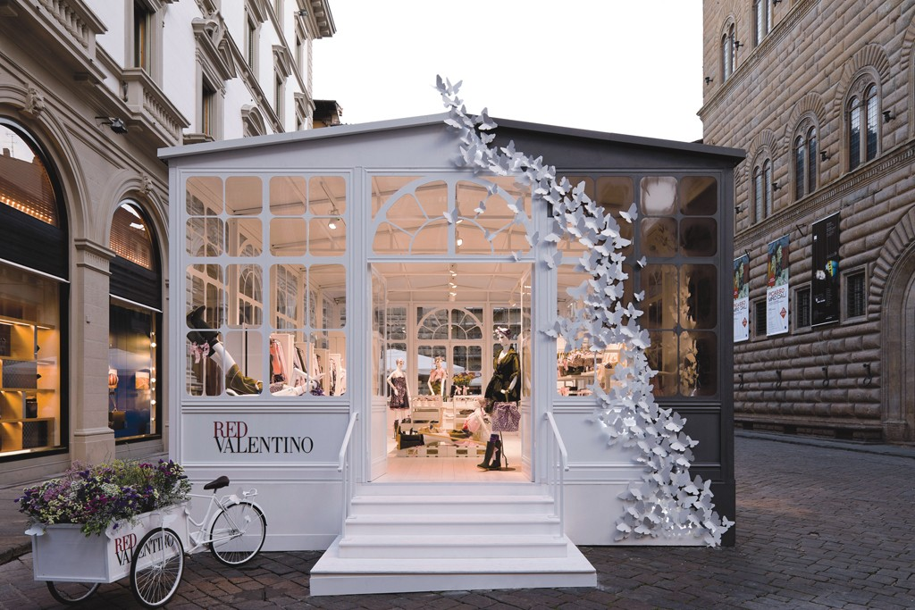 The Red Valentino pop-up greenhouse in Milan.