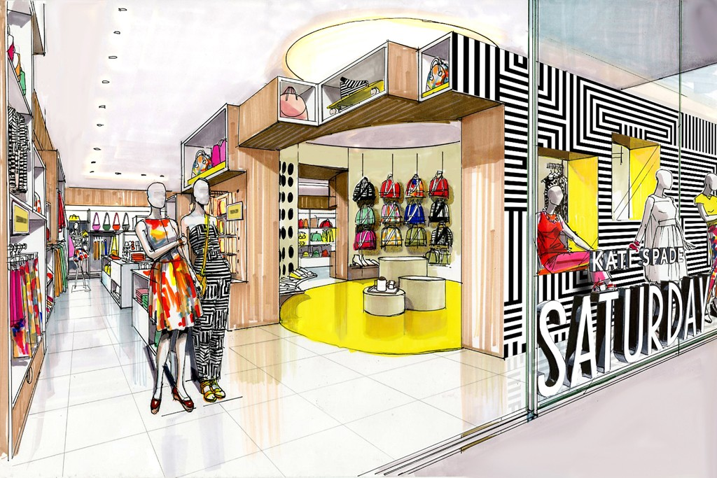 A rendering of the Kate Spade Saturday freestanding store by Brian Humphrey at BHDM Design.