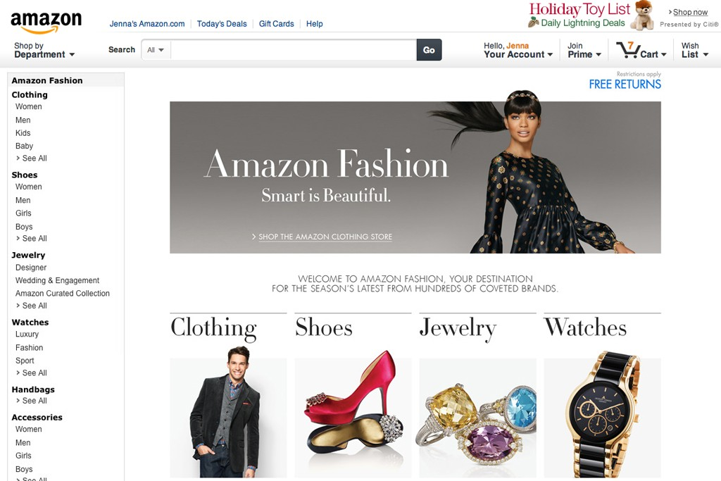 A page from the Amazon Fashion Web site.