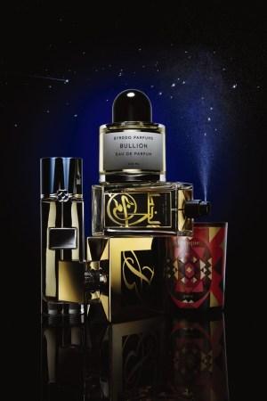 Clockwise from top: Byredo Bullion, Aramis Perfume Calligraphy, Diptyque Amber Oud, Estée Lauder Wood Mystique and Oscar de la Renta Oriental Lace