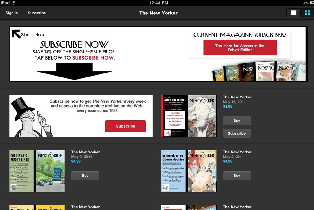 A view of The New Yorker iPad App