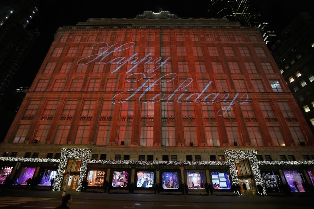 The laser show on the Saks flagship façade.