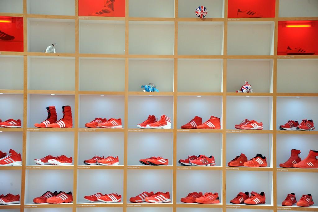 Adidas merchandise on display at Westfield Stratford.