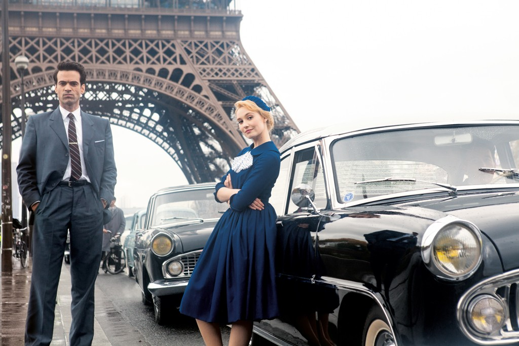 "Déborah François and Romain Duris in character in ""Populaire."""
