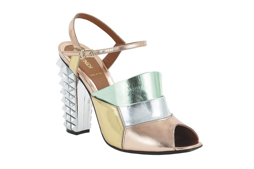 Fendi metallic studded sandal.