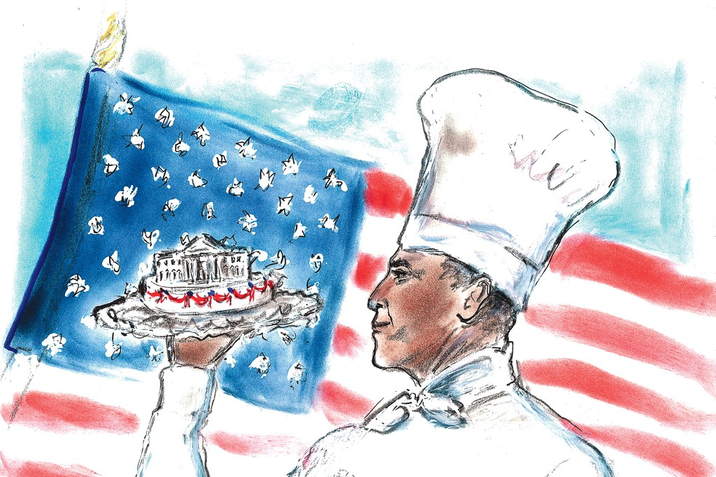 A sketch of president Obama in chef whites by Karl Lagerfeld.
