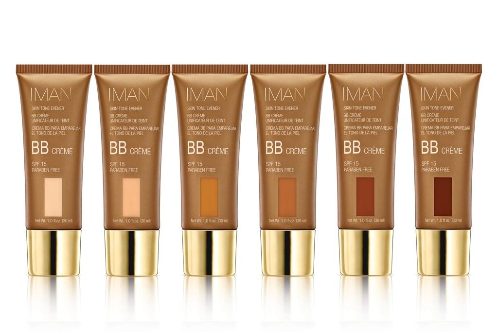 The six shades of Iman Skin Tone Evener BB Crème SPF 15.
