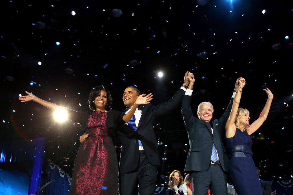 Michelle and President Obama with Joe and Jill Biden on election night.