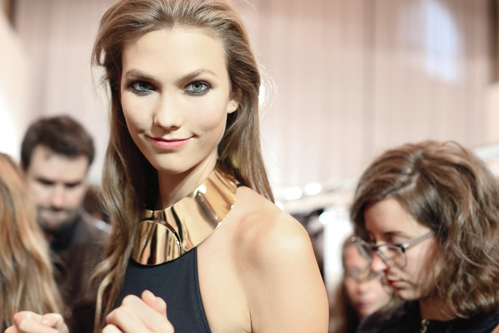 """DELPHINE ACHARD: """"Karlie at the sexiest Lanvin show I've ever seen, a collec- tion that reminds me of Helmut Newton pics....Skin, black and gold is a strong combination for the sexiest Lanvin show and the best accessories ever."""""""