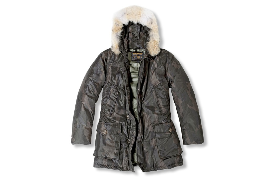 A Woolrich John Rich & Bros. fur-trimmed camouflage parka.