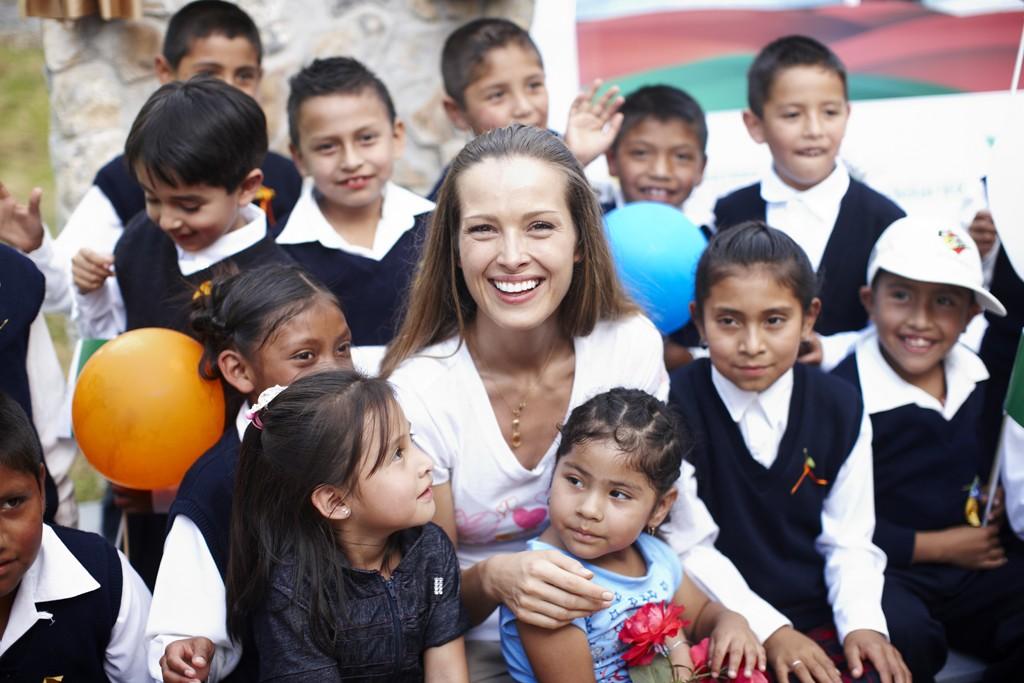 Petra Nemcova with new friends in Mexico.
