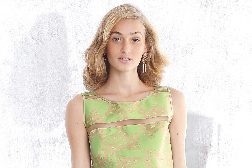 Saunder's cotton and polyester jacquard dress. BCBG Max Azria earrings.