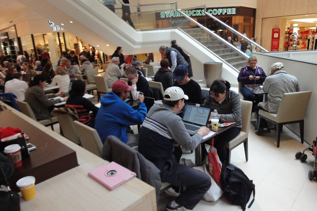 Patrons charge up at the Short Hills Mall.