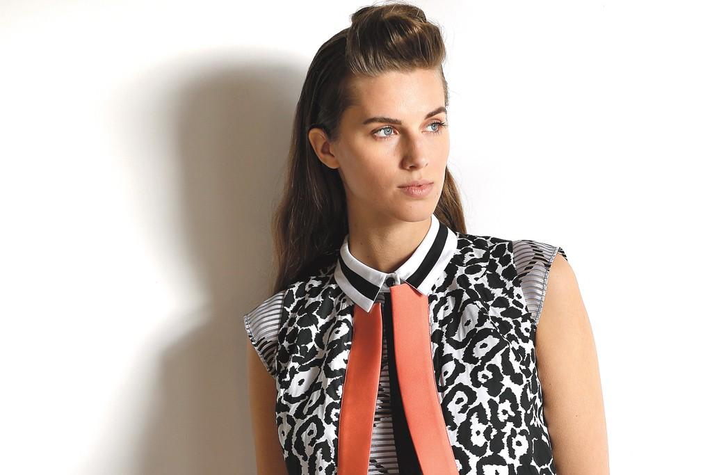 Ostwald Helgason's polyester and silk sleeveless jacket, blouse and shorts.