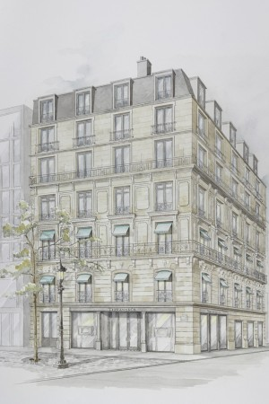 A rendering of the Tiffanystore on Champs-Elysées