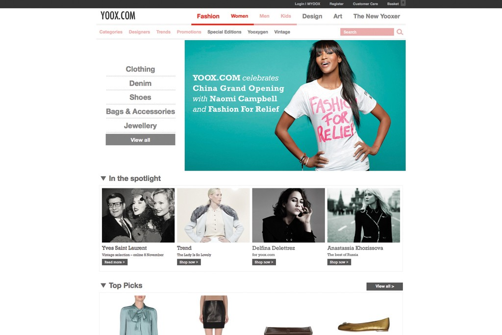 The Yoox homepage.