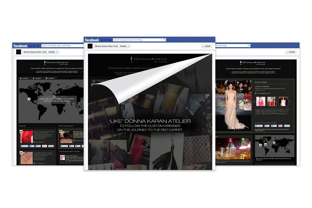 A screenshot of the new Donna Karan Atelier Facebook app.