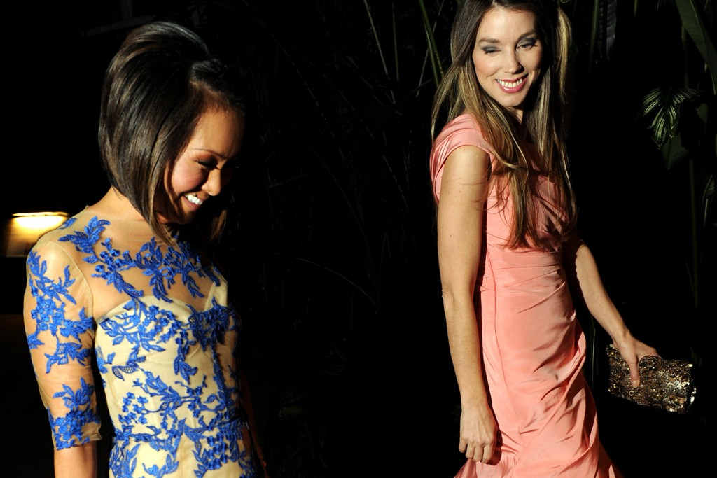 Alina Cho in Monique Lhuillier with Alexandra Lind Rose.