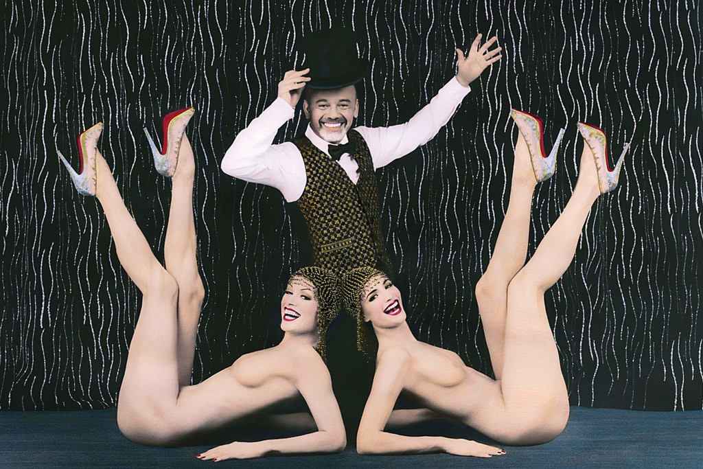"""Christian Louboutin with """"Crazy Horse"""" performers"""