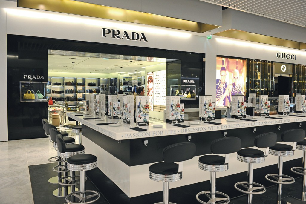 The Prada boutique at Charles de Gaulle.