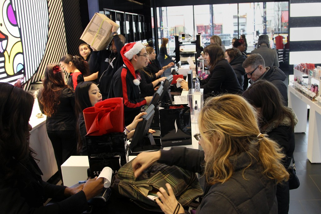 Holiday shoppers at Sephora in New York City.