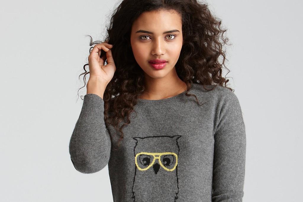 Aqua bespectacled owl sweater at Bloomingdale's.