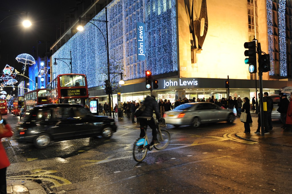 A view outside the John Lewis store in London.