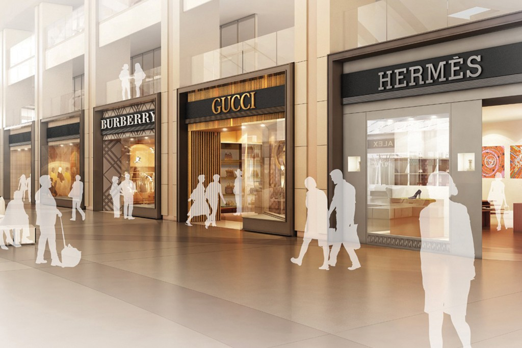 A rendering of the Burberry, Gucci and Hermès stores at the LAX International Airport.