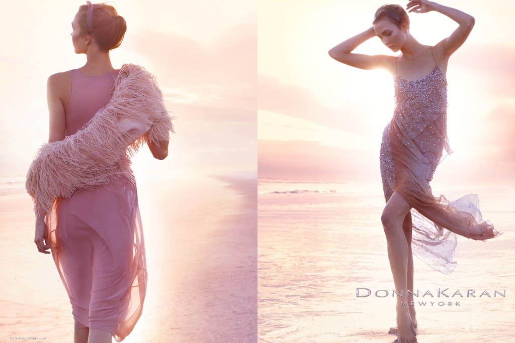 An ad from Donna Karan New York's spring campaign featuring Karlie Kloss, photographed by Patrick Demarchelier.