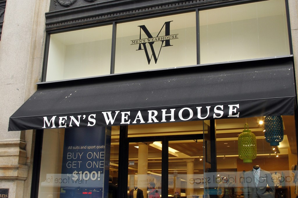 A view outside the Men's Wearhouse store.