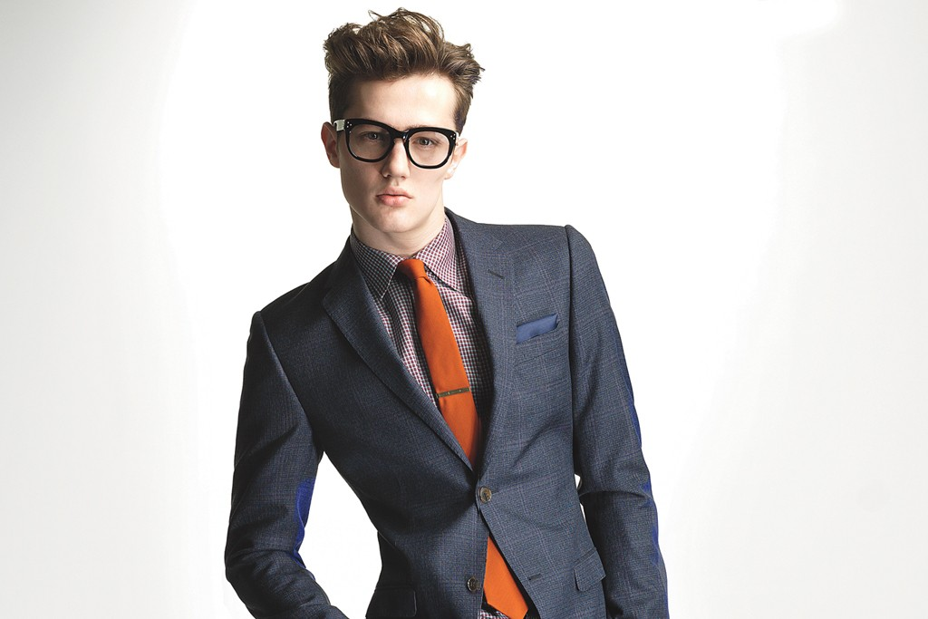 Gucci's slim suit, Prada's shirt and Alexander Olch's tie.