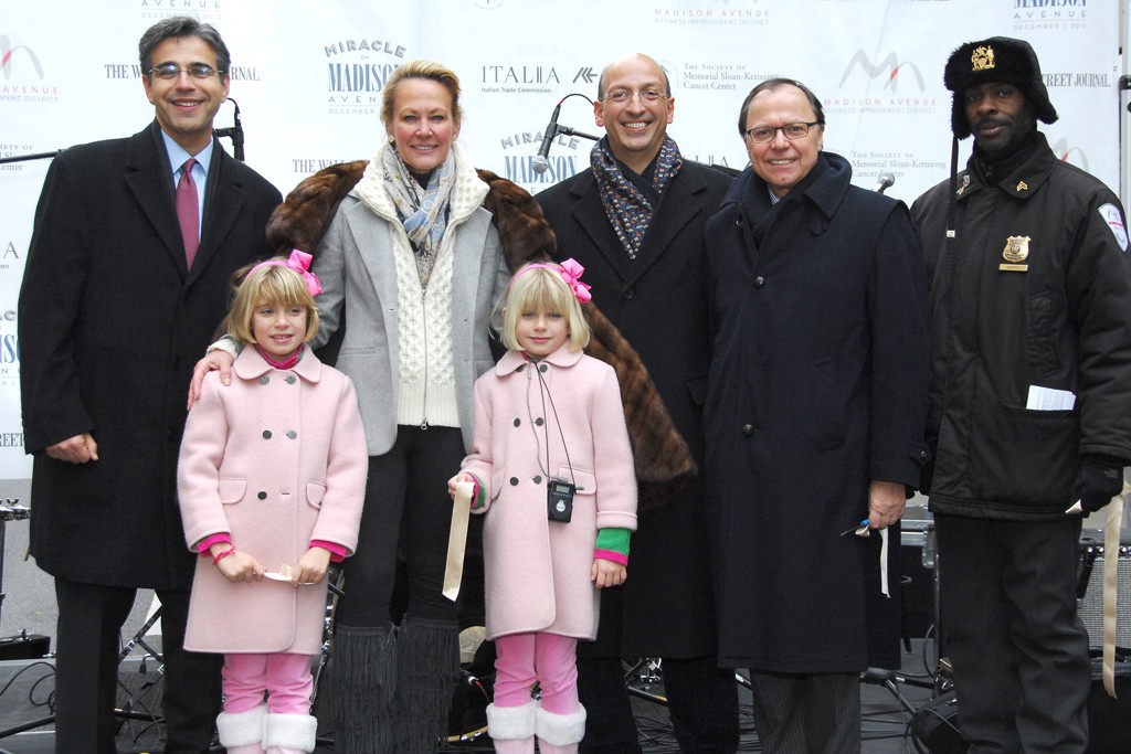 """Matthew Bauer, Ashley and Grace Aston, Muffie Potter Aston, Paul Tsigrikes, Dr. Aniello Musella and and a Madison Ave. BID """"Gleam Team"""" Member."""