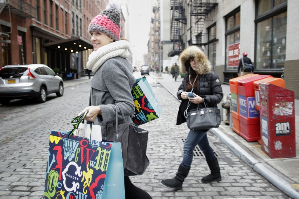 Holiday shoppers in New York City.
