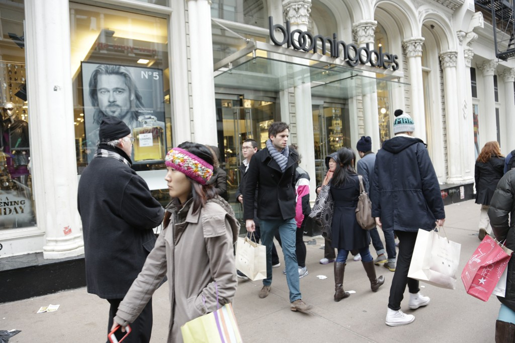 Shoppers outside Bloomingdales in Soho.