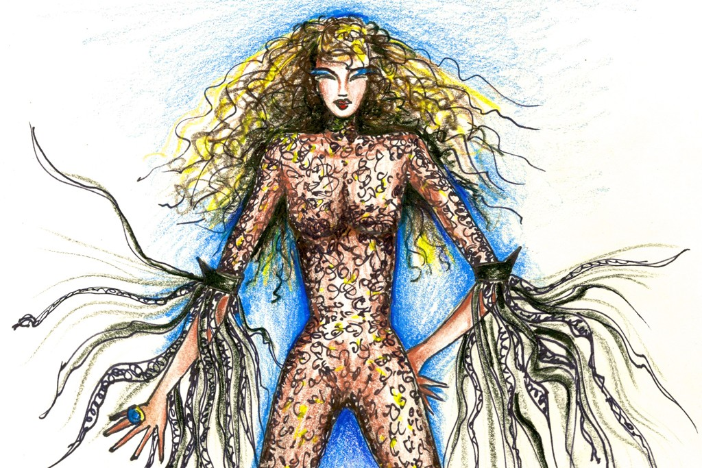 Marc Bouwer's catsuit sketch for Shania Twain.