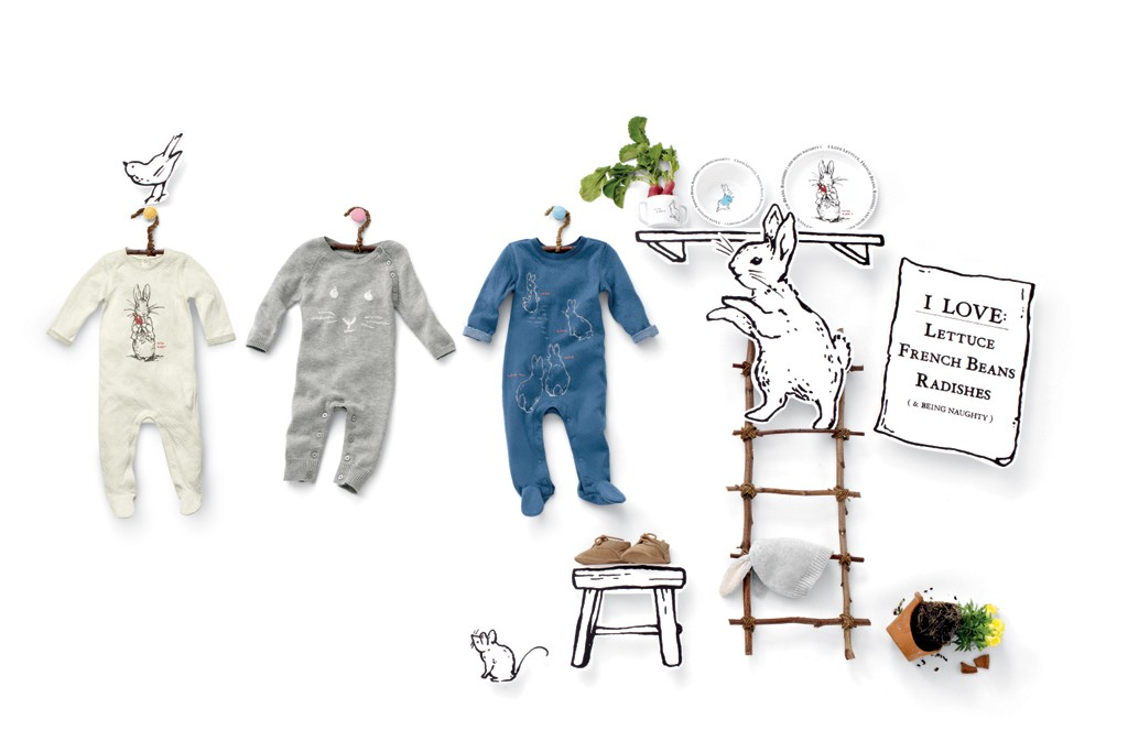 "A marketing image from the limited-edition babyGap collection inspired by Beatrix Potter's ""The Tale of Peter Rabbit."""