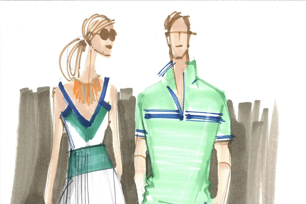 A sketch of looks from the Banana Republic Milly Collection.