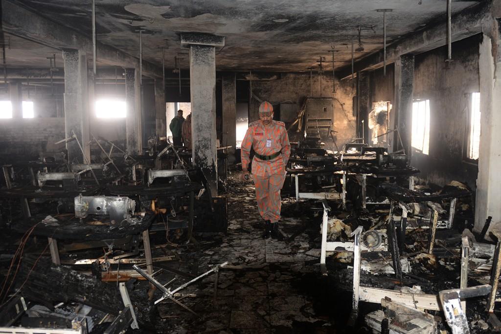 A blaze ravaged the Smart Export Garment Ltd. factory in Dhaka, Bangladesh, on Saturday.