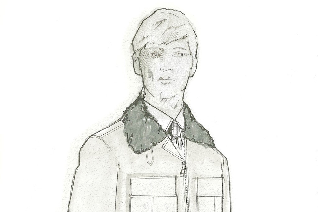 A sketch from Brendan Mullane's first men's collection.