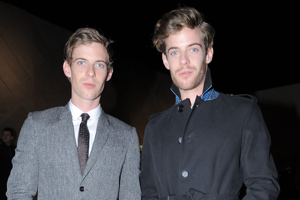 Harry and Luke Treadaway at the Burberry men's show.