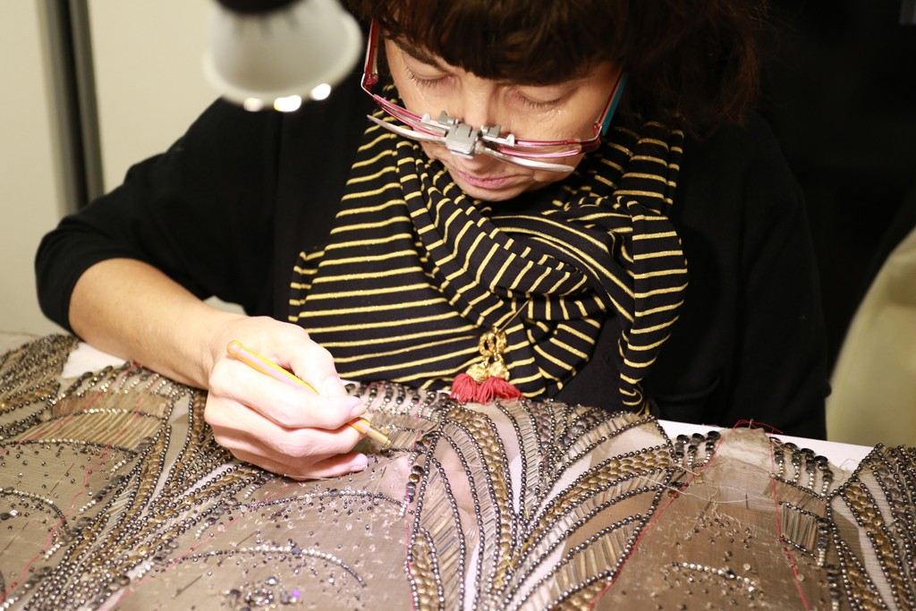 Embroideries in the making at Gaultier Paris couture atelier.