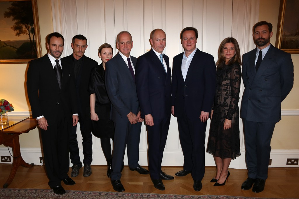 Tom Ford, Jonathan Saunders, Lou Dalton, Richard James, Dylan Jones, Prime Minister David Cameron, Natalie Massenet and Patrick Grant.