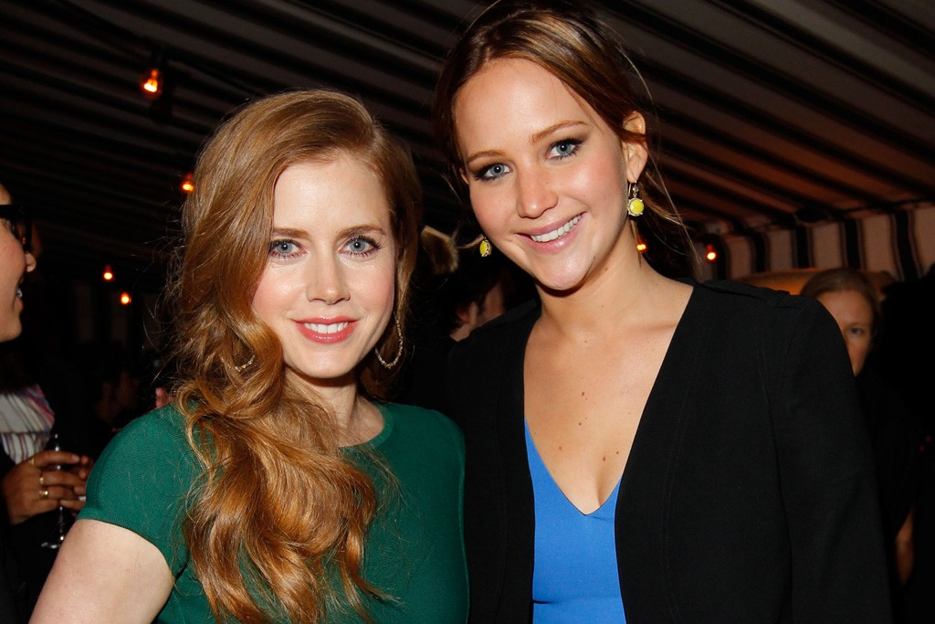 Amy Adams in Herve L. Leroux with Jennifer Lawrence.
