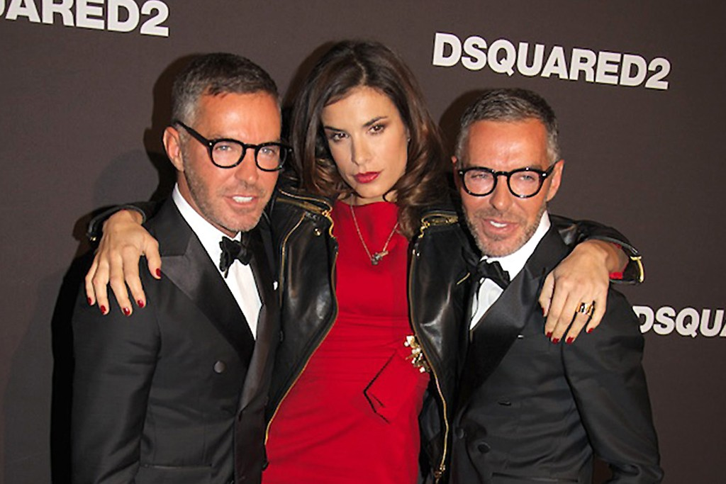Dean and Dan Caten with Elisabetta Canalis.
