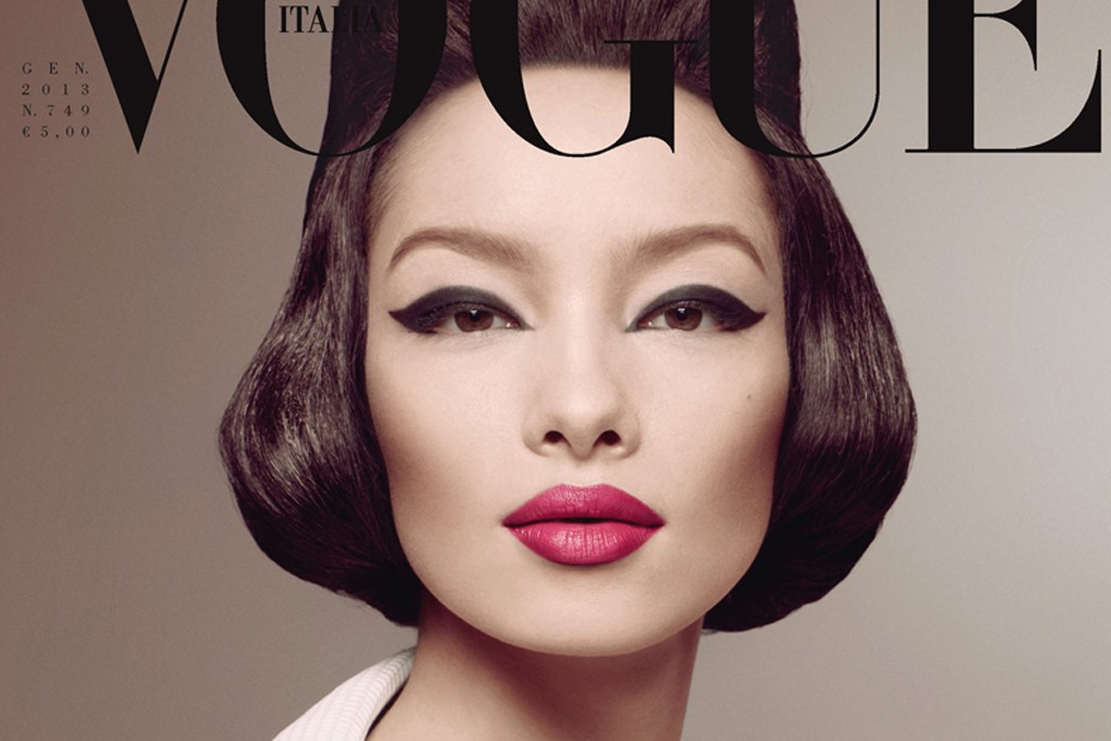 The January cover of Vogue Italia, featuring Fei Fei Shun, photographed by Steven Meisel.