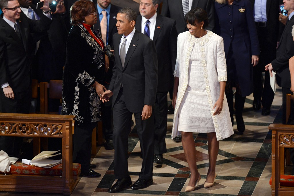 President Barack Obama and First Lady Michelle Obama in Naeem Khan.