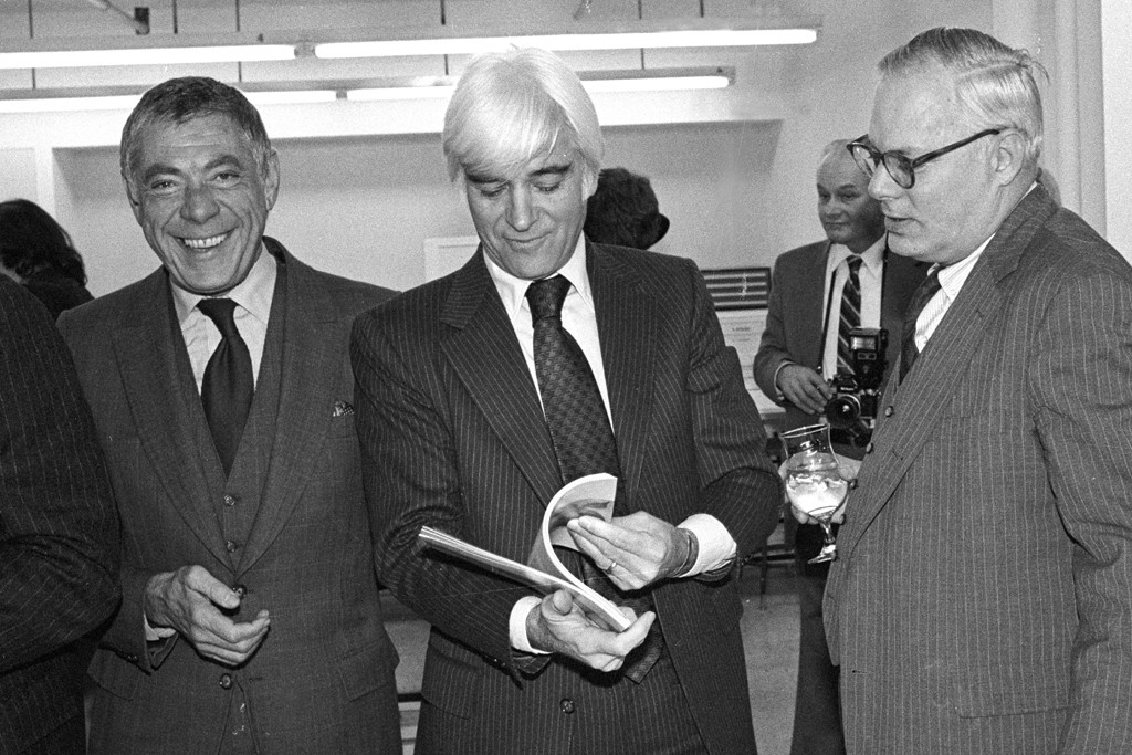 Lawrence Wechsler, Paul Woolard and Jim Schoff Jr. attend the dedication of the Parsons Marvin S. Traub Design Research Center on November 24, 1981 in New York.