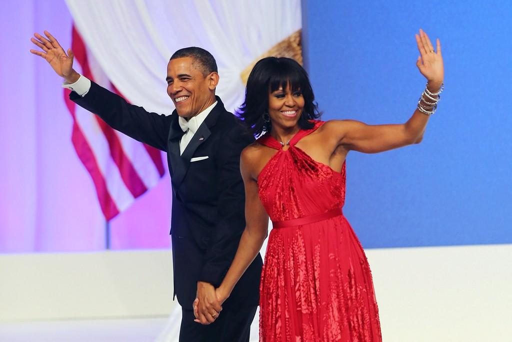 President Barack Obama and first lady Michelle Obama wearing Jason Wu.