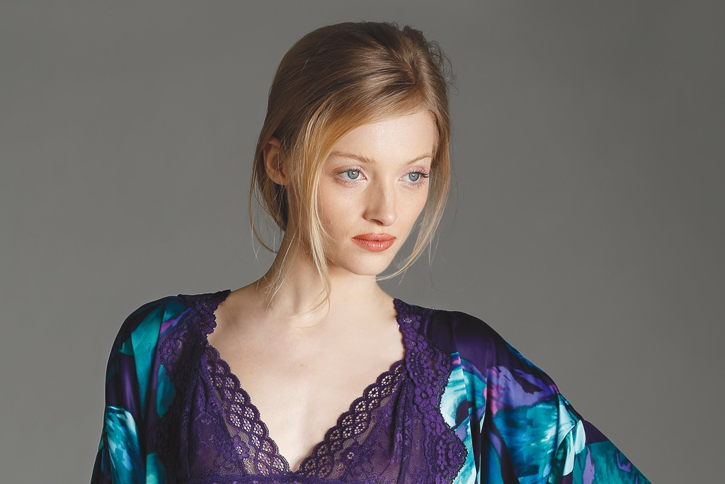 In Bloom by Jonquil's polyester, lace-edged kimono and shorts and nylon and spandex lace camisole.