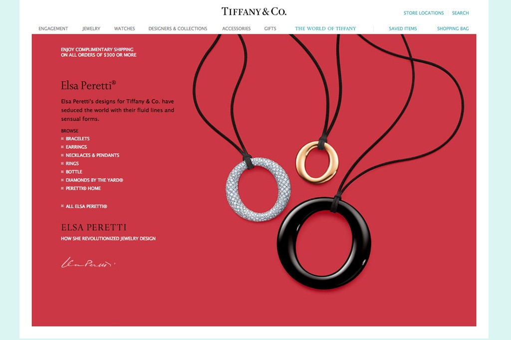 A view of the Tiffany's website featuring Elsa Peretti designs.